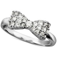City by City Silver-Tone Cubic Zirconia Bow-Shaped Ring (1/3 ct. t.w.)