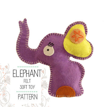 Felt Woodland Elephant Sewing pattern, Stuffed toy