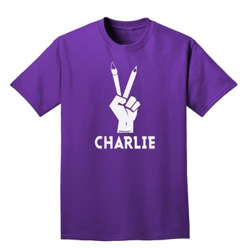 Hand Peace Sign - Charlie Design Adult Dark T-Shirt by TooLoud