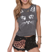 Doe Meow Face Cropped Muscle Tee at PacSun.com