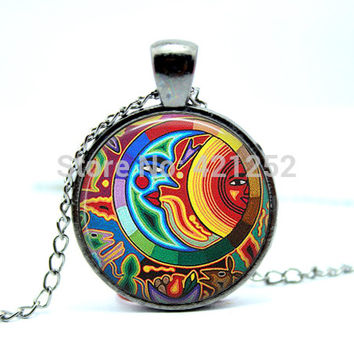 10pcs/lot Necklace Sun and Moon Necklace Moon Sun Jewelry Celestial Mayan Jewelry Art Pendant Glass Photo Cabochon Necklace