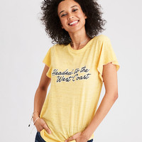 AE Burnout Desert Graphic Tee, Yellow