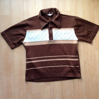 Brown Knit Vintage Bowling Shirt / Stripes / Mens / Classic / 1970s
