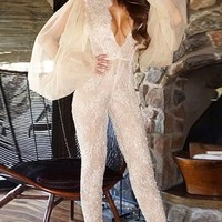 Great Performance Creamy White Lace Sheer Long Puff Sleeve Mock Neck Plunge V Neck Ruffle Skinny Jumpsuit