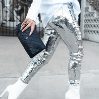 Silver Patchwork Sequin Pockets High Waisted Bodycon Party Long Pant