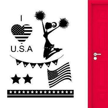 Wall Stickers USA Independence Day Celebration Cheerleader Vinyl Decal Unique Gift (ig2428)