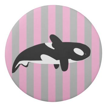 Cute Orca - Killer Whale Drawing with Stripes Eraser