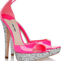 Miu Miu | Glitter-finish patent-leather sandals | NET-A-PORTER.COM