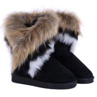 Multi-color Faux Fur Mid-Calf Snow Boots