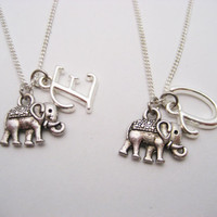 Elephant Necklace Set Initials Necklace Customized Necklace Best Friends Gifts Letter Necklace Elephant Jewelry Animal Necklace