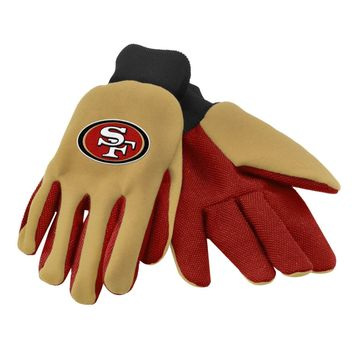 SF San Francisco 49ers NFL Team Sport Utility Gloves Two Toned Football