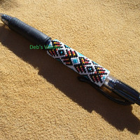 Native American Style Brickstitched G2 pen cover Ethnic Colors