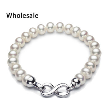 Trendy 925 sterling silver clasp with white gold plated 8-9 mm white pink purple natural pearl bracelets 18cm pearl jewelry