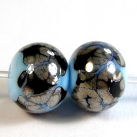 Light Sky Blue Handmade Lampwork Beads Black Webs Metallic Sheen Shiny