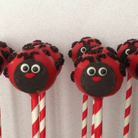 12 Ladybug Birthday Party Cake Pops Baby Bridal Shower Sweets Table Candy Buffet Party Favors