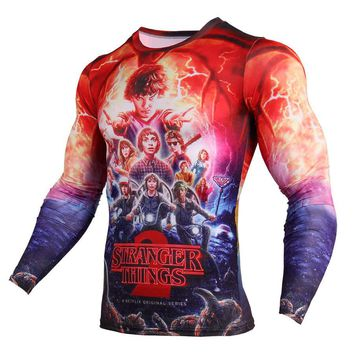 New Stranger Things Netflix 3D Print T Shirt Men Fashion Anime Funny Long Sleeve T Shirts Compression Shirt Character Hipster Tops Tees