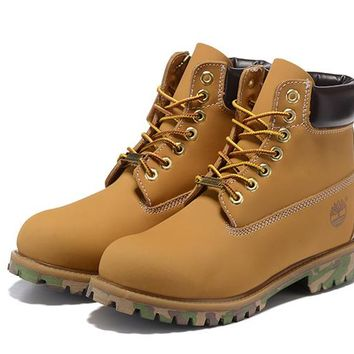 Timberland For Men Women 6-Inch Premium Waterproof Wheat Black Camo Boots