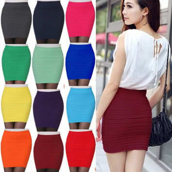New Fashion Women Skirts High Waist Candy Color Plus Size Elastic Pleated Short Skirt = 1958326916