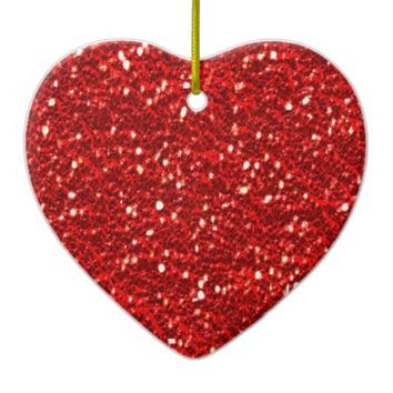 Dual Color Red and Green Sparkles Faux Glitter Double-Sided Heart Ceramic Christmas Ornament