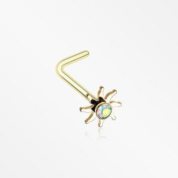 Golden Blazing Sun Sparkle L-Shaped Nose Ring