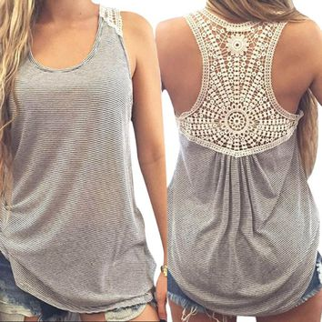 Women's Summer Casual Lace Sleeveless O-Neck TankTop