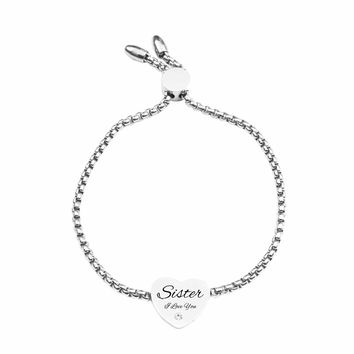 Solid Stainless Steel Slider Bracelet by Pink Box - SISTER