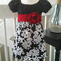 Girls Christmas Dress, Black White Damask and Red Rosette Sash, boutique style, tunic, toddlers, Custom sizes 12M-5T
