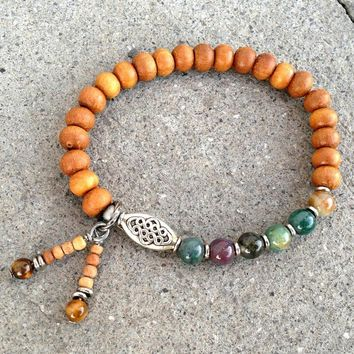 Sandalwood and Jasper Mala Style Bracelet