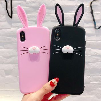 3D Cute Cartoon Rabbit Ears Bunny  Case For iPhone X 7 8 Plus 6 6s Plus 5 5S SE Silicone Case Transparent Pink Girl Phone Cover