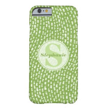 Green Dash pattern Monogrammed Barely There iPhone 6 Case