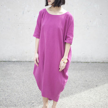 Rachel Craven Long Linen Cocoon Dress in Fucshia