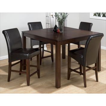 Carlsbad Cherry 5 Piece Counter Height Butterfly Floating Leaf Dining Table & Chestnut Leather Chair Set