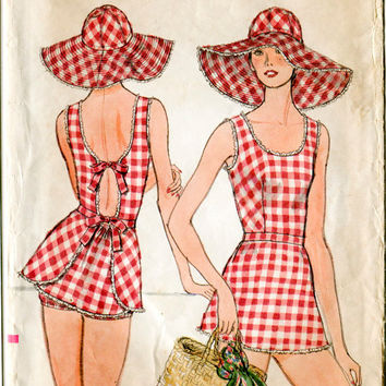 1970s vintage sewing pattern beach swim bathing suit sun hat  and briefs bust 36 b36 waist 28 w28 Vogue 9230