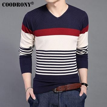 Wool Sweater Men Clothing Spring New Casual Striped V-Neck Pullover Men Sweaters Knitted Woolen Pull