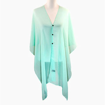 Mint Multi-Way Sheer Cover Up Poncho Scarf with Buttons