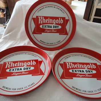 Vintage Collectible Rheingold Advertising Red Metal Beer Serving Trays Set Of 3