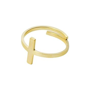 Rose Gold Color Sideways Cross Rings For Women Bff Jewelry Adjustable Thin Bar Ring Religious God Baptism Confirmation Bijoux