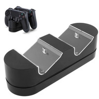 2 x USB Charging Dock Station Stand / Game Handle Controller Charging Seat with LED for PS4(Black)