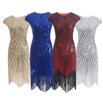 Women 1920s Diamond Sequined Embellished Fringed Great Gatsby Flapper Dress Retro Tassle Croche Midi Party Dress Ukraine Vestido