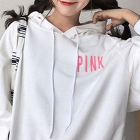 Victoria'S Secret PINK Women Hooded Long-sleeves Pullover Tops Sweater