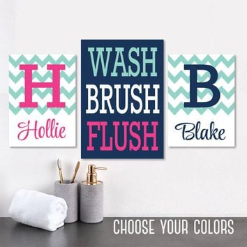 Brother Sister BATHROOM Wall Art, Kid Child Bathroom Art CANVAS or Prints, Boy Girl Monogram Bathroom Wall Decor, WASH Brush Flush Set of 3