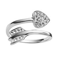 AMORE by Simone I. SMITH Platinum Over Silver Crystal Cupid's Arrow Bypass Ring (White)