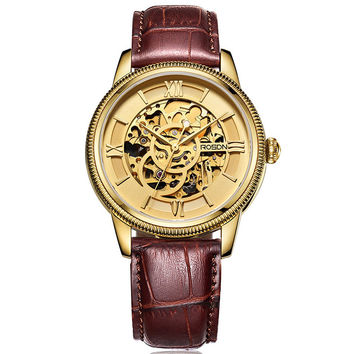 Men's Automatic Selt-wind Stainless Steel Rome Sapphire Crystal Gold Skeleton