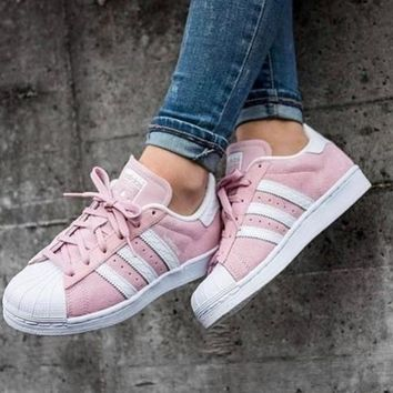 Adidas Fashion Shell-toe Flats Sneakers Sport Shoes Mint Green Pink