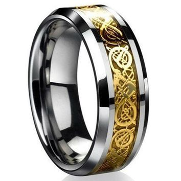 Celtic Stainless Steel Dragon Titanium Band Ring for Men's by Ritzy