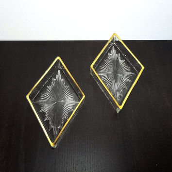 Vintage Set of 2 Hollywood Regency Style Diamond Shaped Glass Dishes With Starburst Pattern and Gold Trim