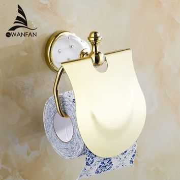 Gold Toilet Paper Holder with diamond,Roll Holder,Tissue Holder,Solid Brass -Bathroom Accessories Products Free Shipping 5208