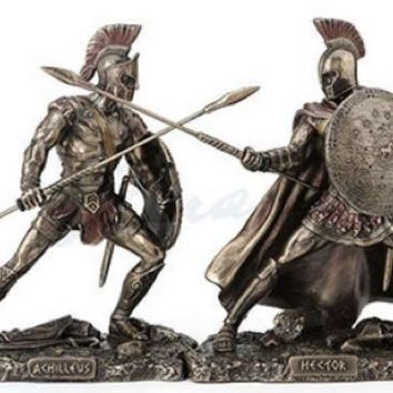 Achilles and Hector Greek Heroes Ready for Battle Small Figurine Set 4.2H