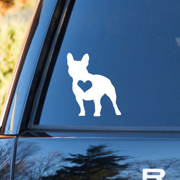 French Bulldog Heart Decal | Bulldog Mom Decal | Bulldog Dog Mom Decal | Dog Dad Decal | Dog Family Decal | Love Sticker | Love Decal | 202
