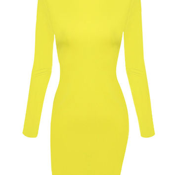 Yellow Cut Out Back Split Detail A-line Dress